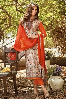 Beautiful Orange beige brown printed Suit