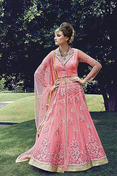 Coral Pink Colour Heavy Embroidered Pure Net Anarkali Suit