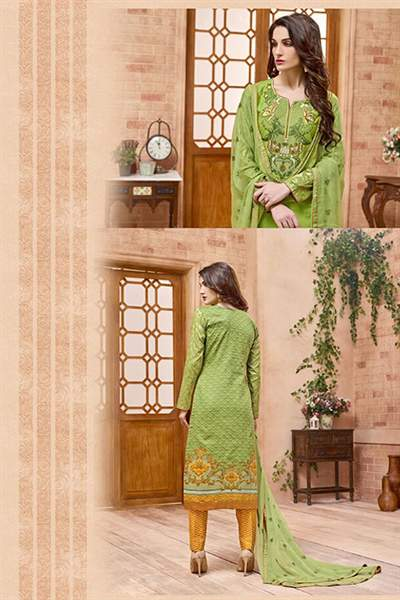 Mehandi Green thread embroidered Salwar Suit with pure chiffon dupatta