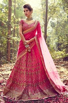 Beautiful Deep Pink Silk Lehenga