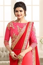 Beautiful Red and Light Pink Chiffon Saree