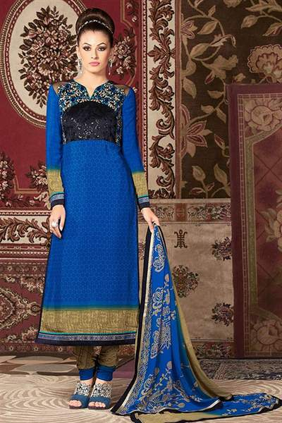 Navy Blue and Beige Printed French Crepe Straight Long Salwar Suit