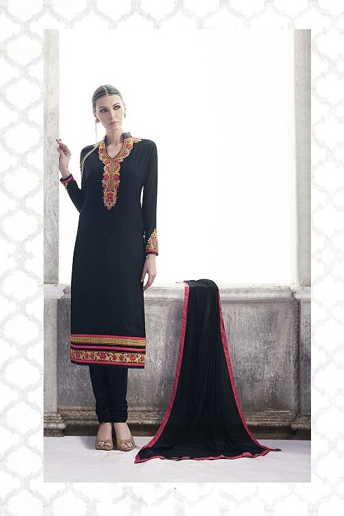 Navy Blue Georgette Straight Cut style Salwar/ Churidar Suit
