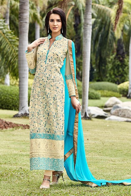 Off-white and Turquoise Blue Pure Georgette Embellished Straight Cut Suit