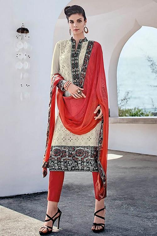 White Smoke Chikankari Work Straight Cut Salwar Suits
