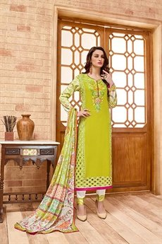 Kashmir Beauty Green embroidered suit with pure chiffon dupatta