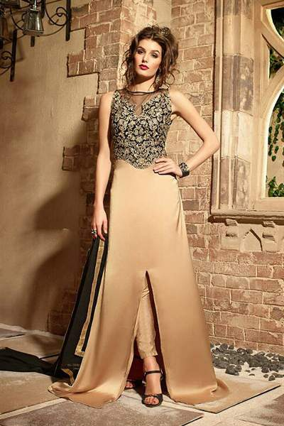 Shimmer Gold Embroidered Pure Georgette Designer Suit