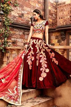 Royal Red and Pink designer lehenga