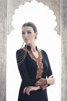 Ayka Designer Georgette Straight Cut Churidar Suit In Navy Blue