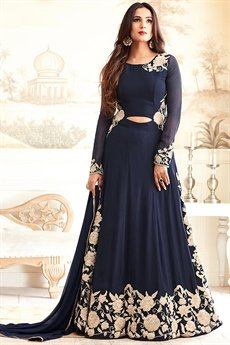 Floor-Length Navy Blue Designer Suit With Beige & Gold Embroidery