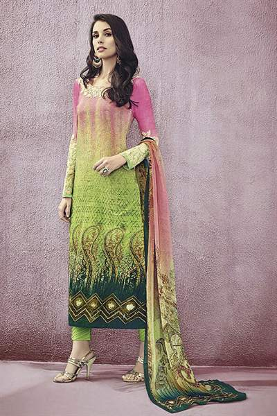 Stunning Printed Lawn Cotton Straight Cut Salwar Suit With Embroidery
