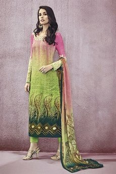 Green Jinaam Pure Cotton Printed Straight Cut Lawn Cream Color Suit
