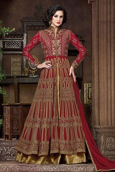 Swagat Red Color Heavy Embroidery Anarkali Suits