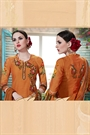 Orangish Brown Printed Georgette Palazzo Straight Cut Suit With Printed Dupatta