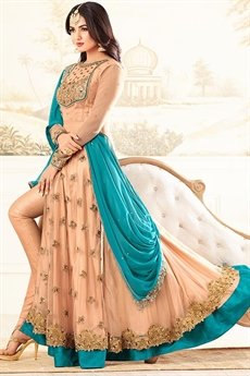 Whimsical Peach & Turquoise Blue Net Sequined Anarkali Suit