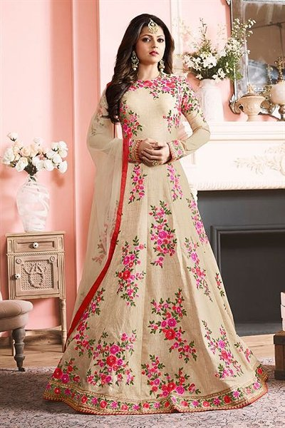 Beautiful Cream Floral Embroidered Raw Silk Long Anarkali Suit