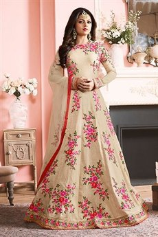 Beautiful Cream Silk Anarkali Suit
