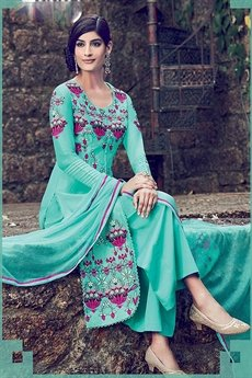 Embroidered Palazzo Suit Sea Green