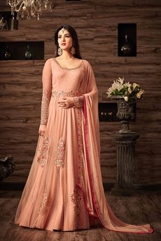 Dusty Peach Floral Embroidered Anarkali Gown