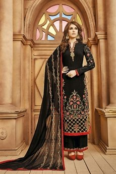 Stunning Black Palazzo Suit with beautiful embroidery & luxe Dupatta