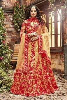Stunning Golden Designer Lehenga with Red thread embroidery
