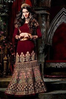Stunning & Royal Rich Velvet Maroon Lehenga