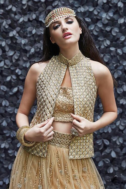 Gold Colour Pure Net Anarkali Suits
