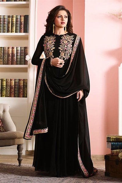 Glamorous Black Floral Embroidered Georgette Long Anarkali suit