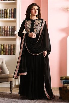 Glamorous Black Georgette Anarkali suit