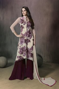 Mugdha White and dark purple floral palazzo suit