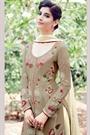 Beige Embroidered Cotton Satin Palazzo Salwar Kameez Suits