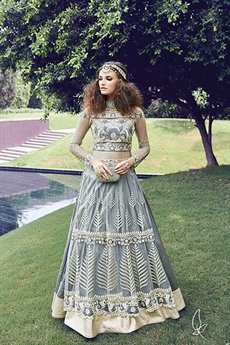 Grey Color Pure Net Anarkali Suits