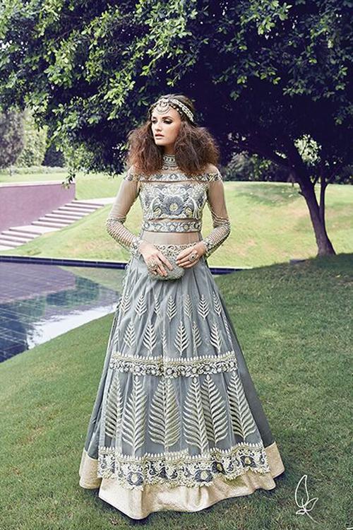 Grey Color Pure Net Anarkali Suits