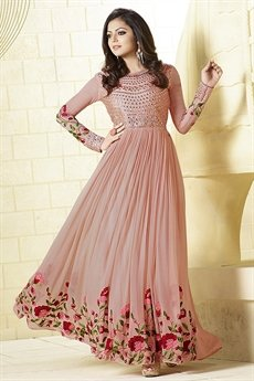 Stunning Peach Mirror Work Georgette Long Anarkali Suit
