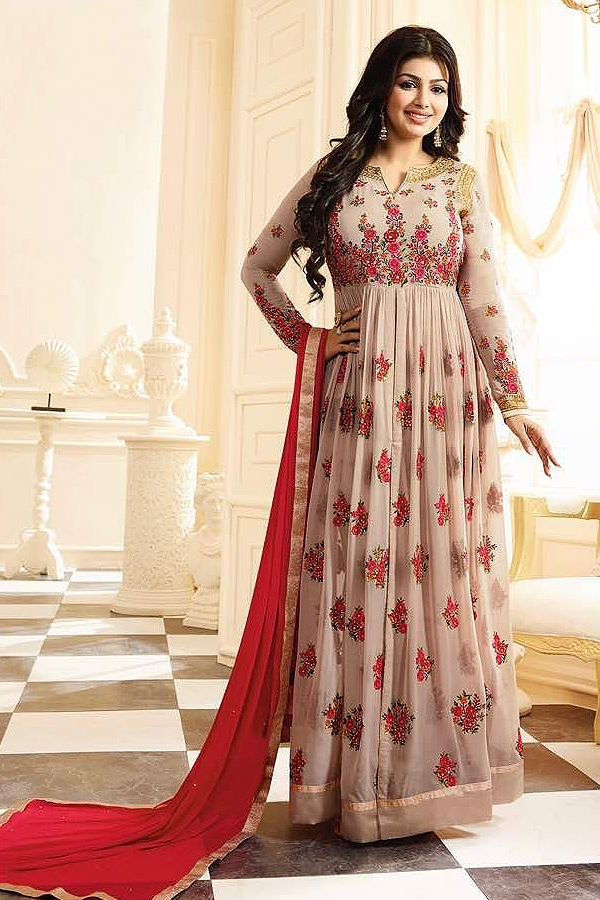 Beautiful Floral Embroidery in Red, Green and Pink Long Anarkali Suit In Georgette