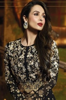 Black Glossy Malaika Arora Khan Heavy Embroidery  Anarkali Suits