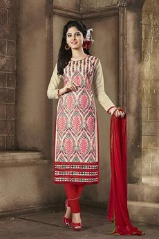 Sanskruti Elegant Chanderi Cotton Churidar Suits With Embroidery Red & Cream Color