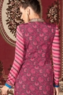Black-Grey and Light Pink Printed French Crepe Straight Long Salwar Suit