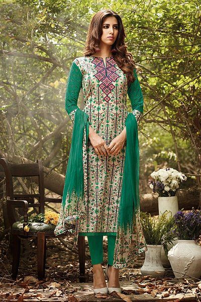 Beautiful Green Printed Lawn Cotton Suit