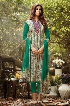 Beautiful Green Lawn Cotton Printed Suit With Orange Embroidery