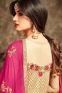 Golden Layered Anarkali Suit With Floral Embroidery In Net
