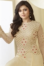 Luxe Beige Thread Embroidered Georgette Long Anarkali Suit