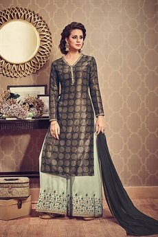 Dark Green Printed Art Silk Ethnic Kurti With Laurel Green Embroidered Palazzo