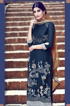 Embroidered Palazzo Suit Royal Blue