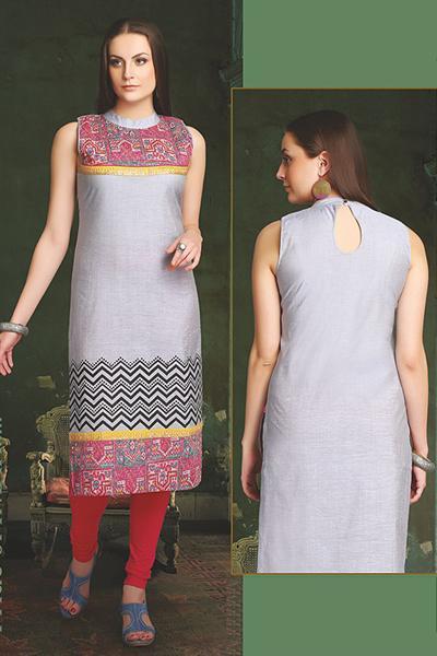 Elegant Cotton Kurti In Grey