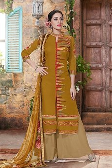 Charming And Beautiful Palazzo Straight Cut Suit With Printed Dupatta In Rusty Brown