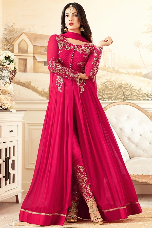 Rose Pink Anarkali Suit With Beautiful Embroidery