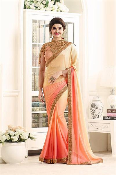 Peach Royal Rangoli Georgette Designer Saree