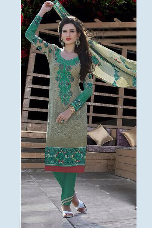 Jassi Pure Cotton Printed Suits With Neck Embroidery Spring Green