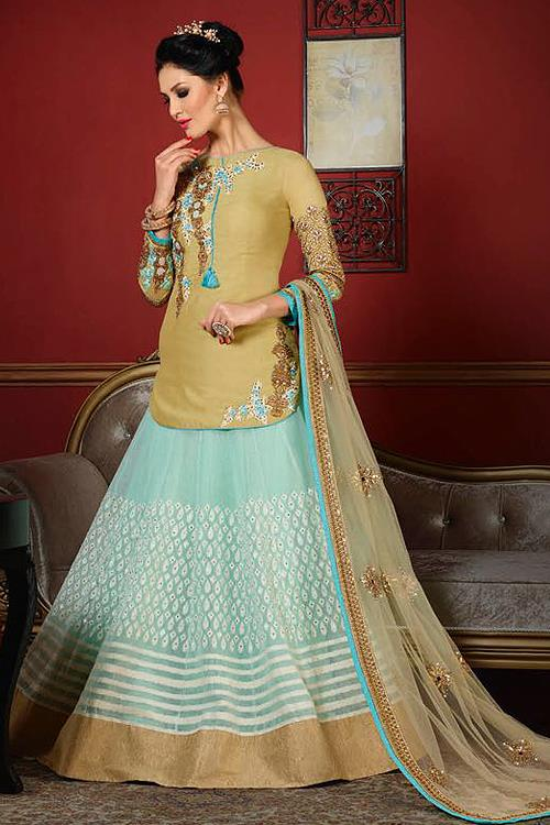 Gorgeous Beige and Pastel Blue Embroidered Viscose Chanderi Silk Designer Lehenga
